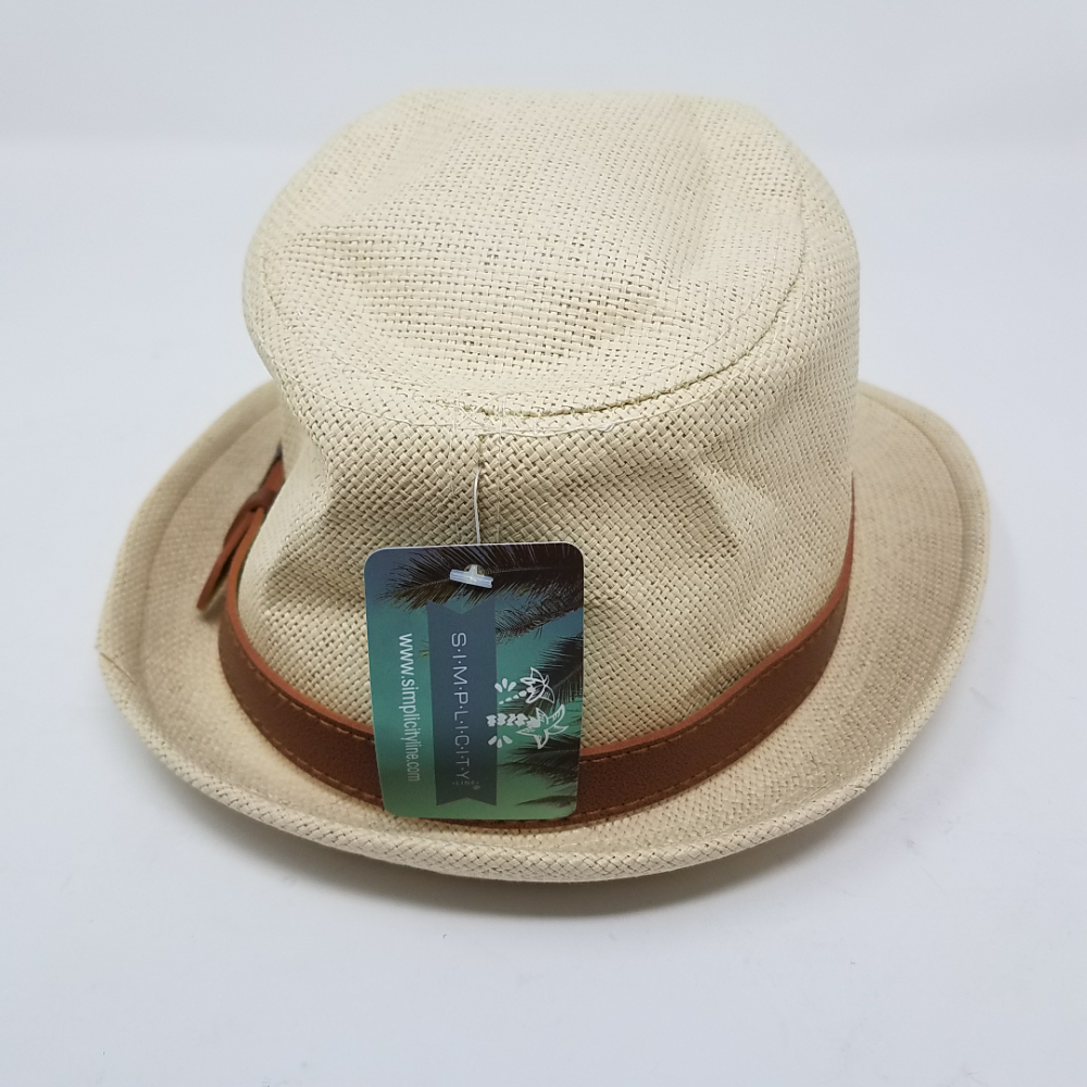 03ccebdf Simplicity Panama Style Fedora Straw Sun Hat With Leather Belt,Natural SM